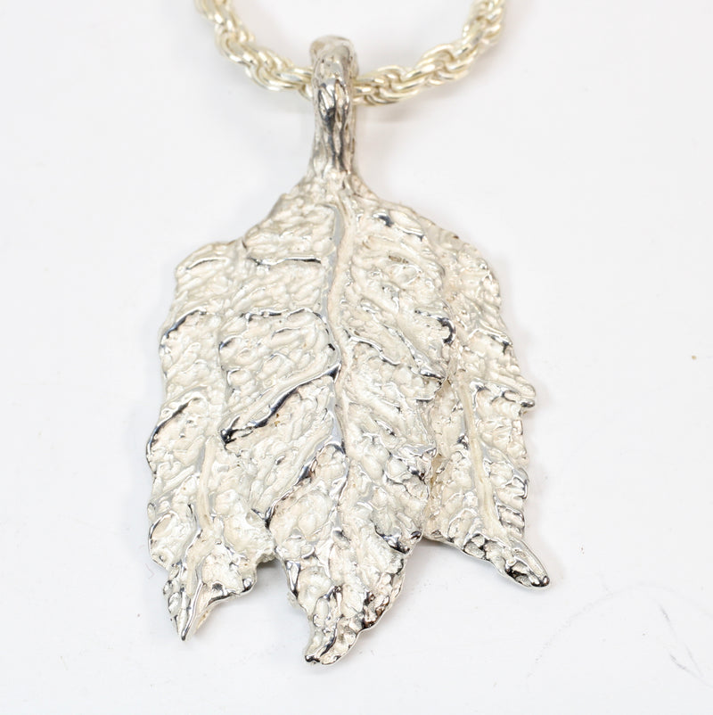 Silver Tobacco Leaf Necklace with solid 925 Sterling Silver Tobacco Charm