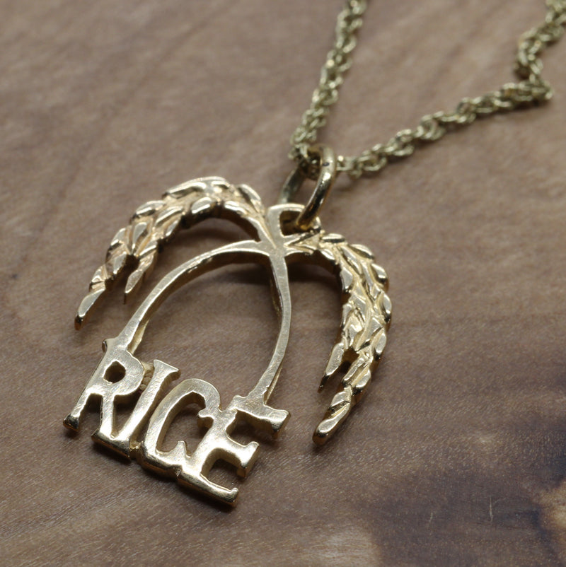 Small Gold Rice Logo Necklace for her made in solid 14kt Gold
