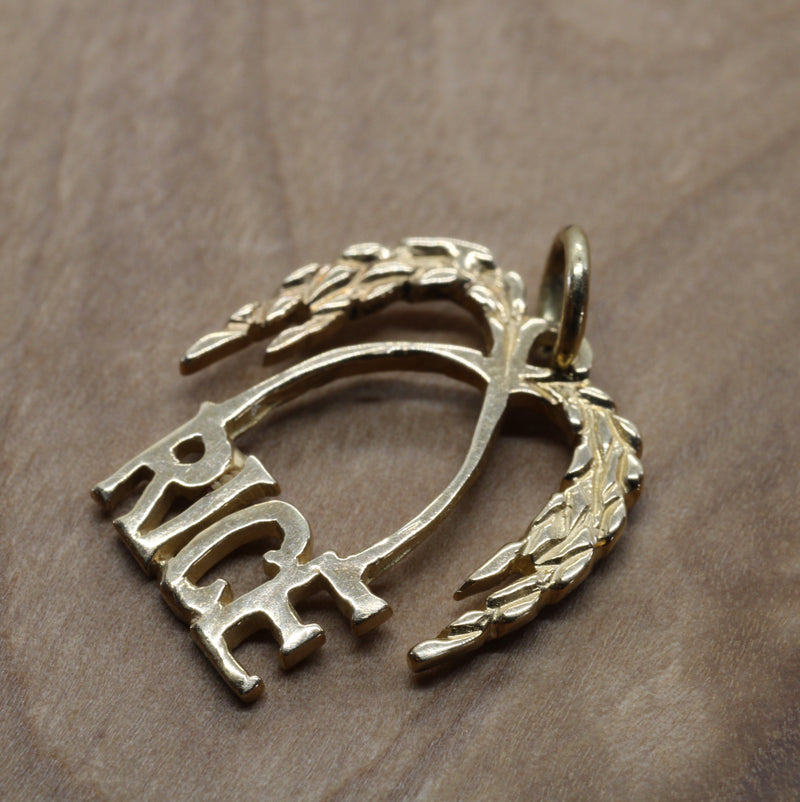 Gold Rice Logo Charm for bracelet made in solid 14kt Gold