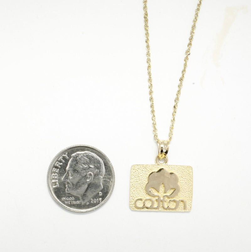 Small Cotton Inc 14kt Gold necklace with Seal of Cotton Logo