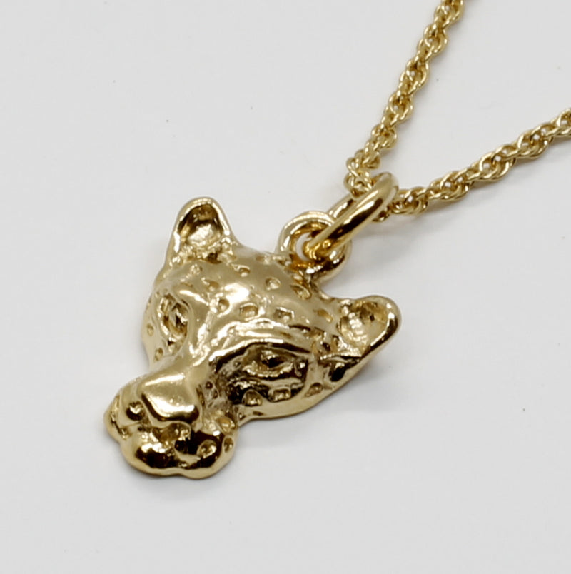 Small Leopard Head Necklace in 14kt yellow gold vermeil