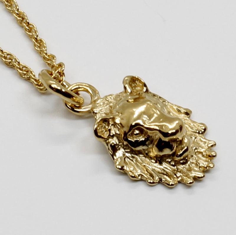 Small Lion Head Necklace with lion facing forward in 14kt Gold Vermeil