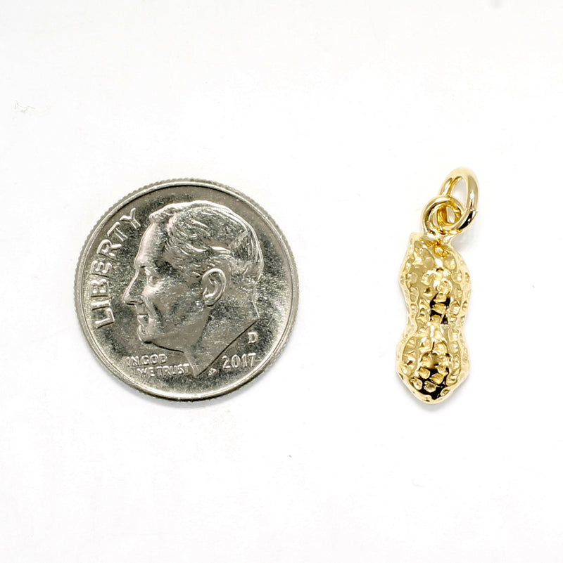 Small Gold Peanut Charm in Half Shell Design for New mom gift