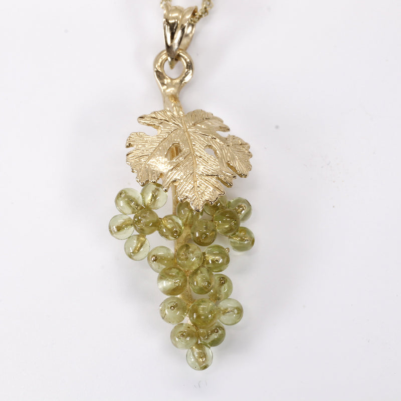 Small Grape Cluster Necklace in 14kt Gold with Green Peridot Gemstones