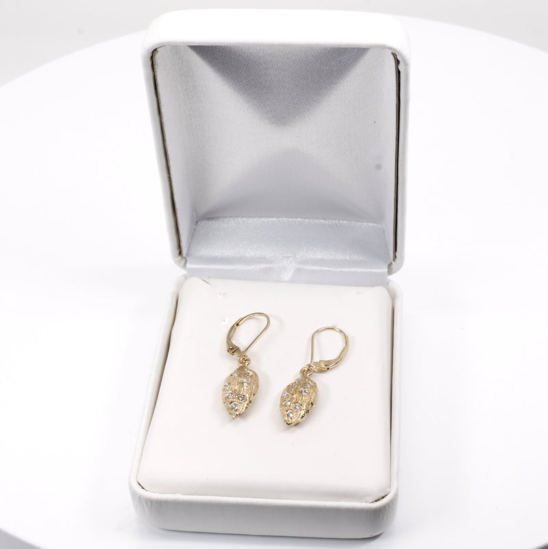 Smaller Size Almond Dangle Earrings made in 14kt gold filled with Diamonds