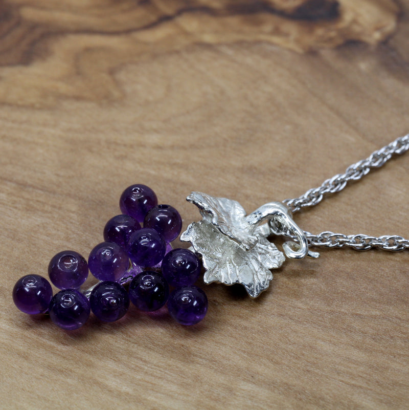 Amethyst Grape Cluster Necklace in 925 Sterling Silver Setting