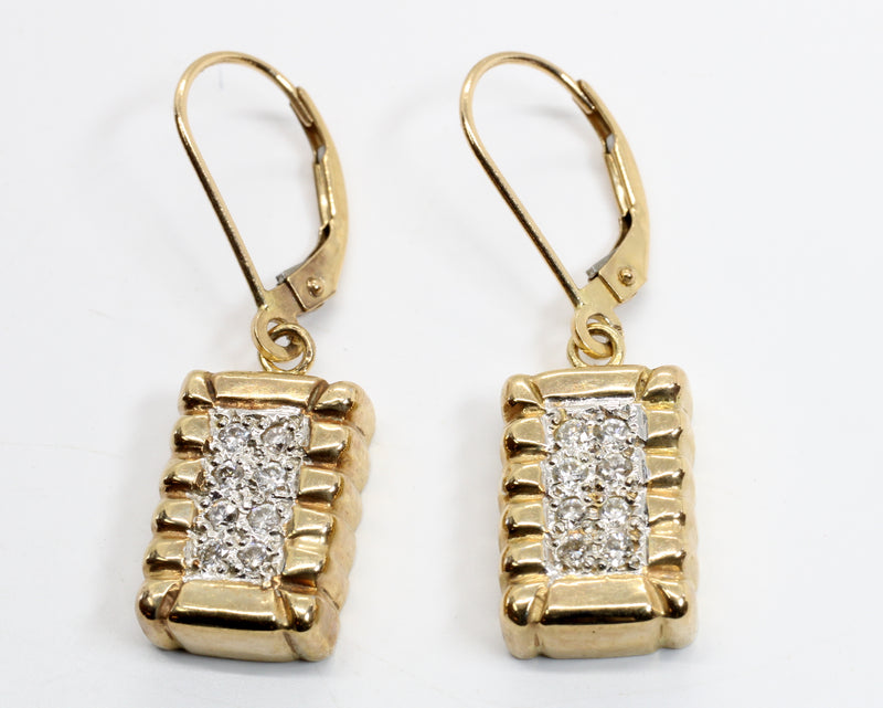 Diamond Cotton Bale Dangle Earrings in 14kt Yellow Gold