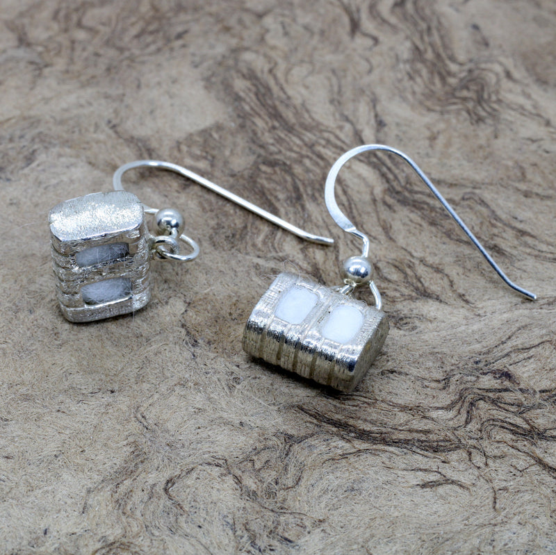 Cotton Bale Dangle Earrings with actual cotton inside in sterling silver