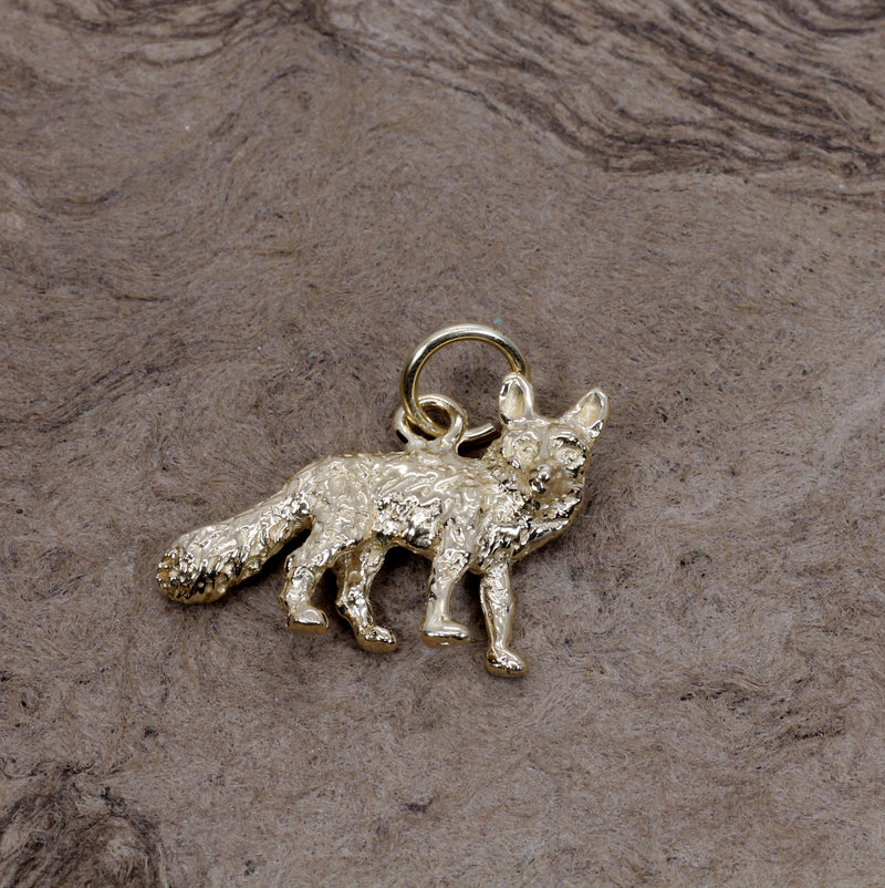 Gold Fox Charm with solid 14kt gold 3D Fox