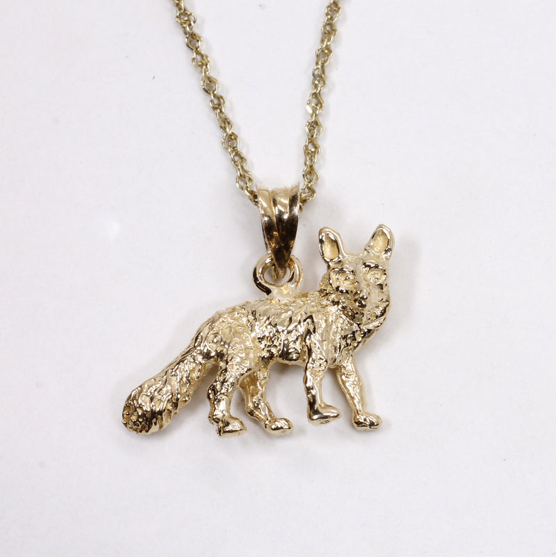 Gold Fox Necklace with solid 14kt gold 3D Fox