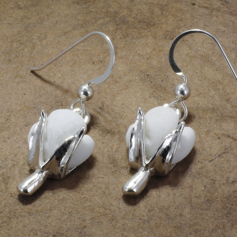 Cotton Boll Dangle Earrings With Hand Made White Stone in 925 Sterling Silver