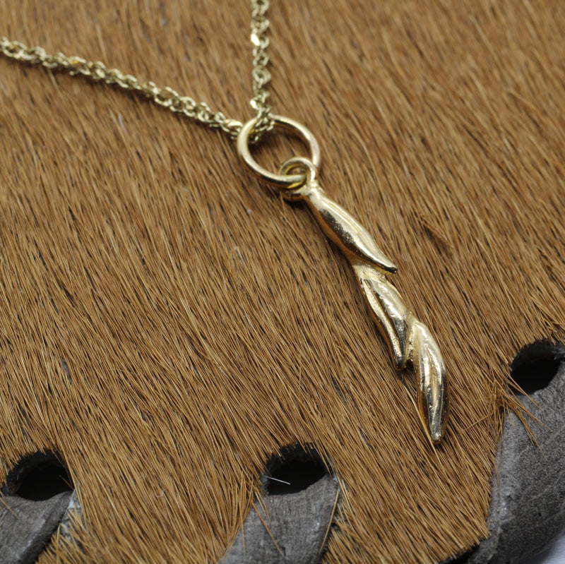Gold Rice Necklace with Three Grain of Rice in solid 14kt gold