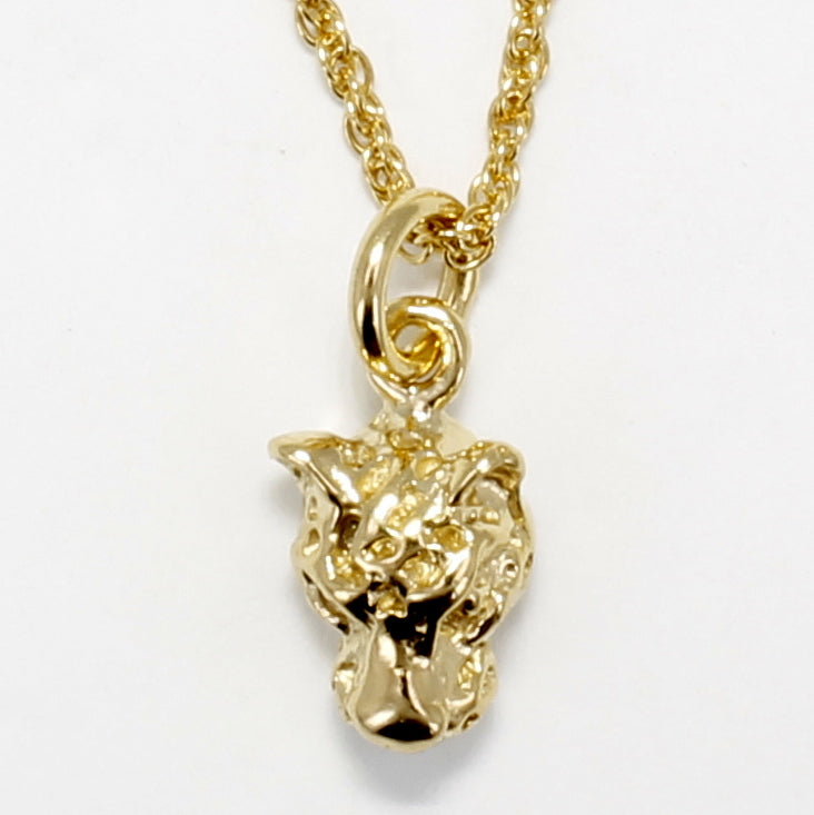 Tiny Leopard Head Necklace in 14kt yellow gold vermeil