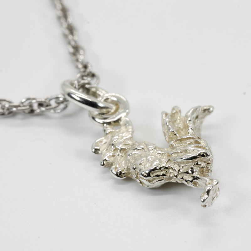 Silver Rooster Necklace for little girl with tiny solid 925 Sterling Silver rooster chicken
