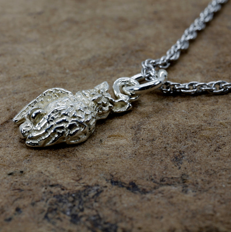 Silver Owl Necklace with tiny 925 Sterling Silver owl looking to the side