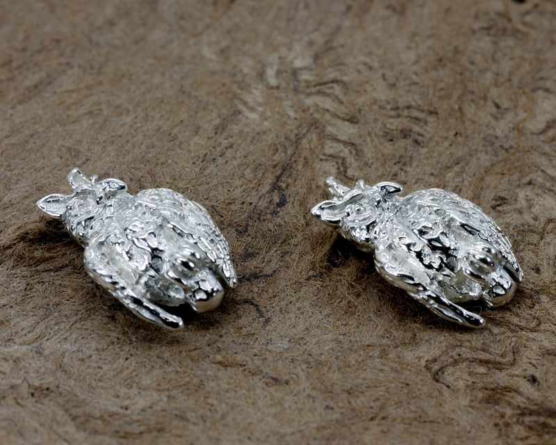 Silver Owl Earrings with tiny 925 Sterling Silver with owls facing sideways