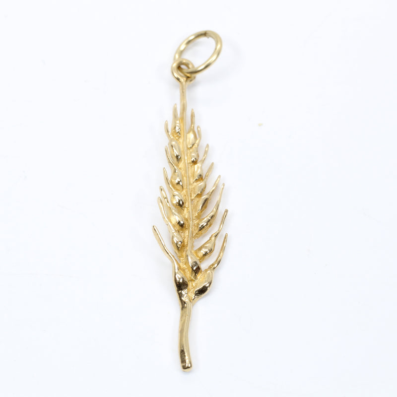 Gold Wheat Head Charm made in solid 14kt Yellow Gold