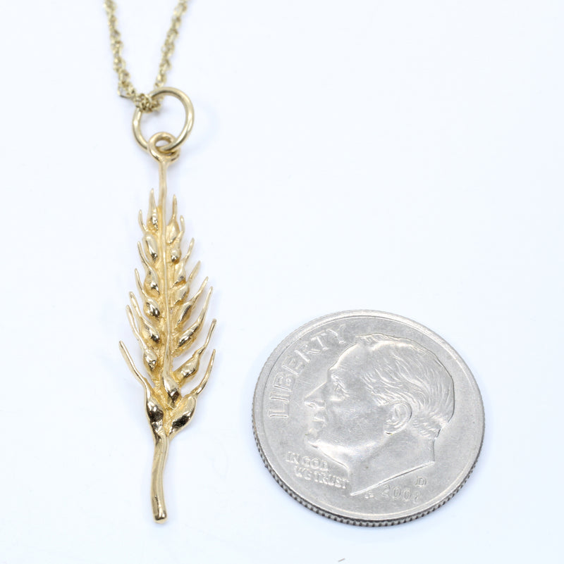 Wheat Head Necklace For Her made in 14kt Yellow Gold