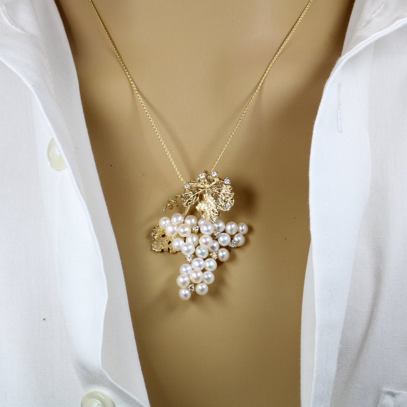 White Freshwater Pearl  and Diamonds Grape Cluster Necklace