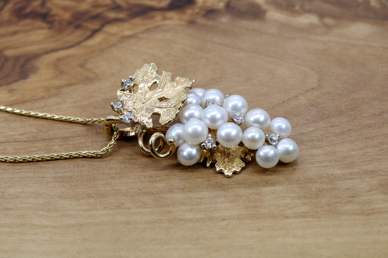 White Pearls Grape Cluster Necklace with diamonds made in 14kt Gold