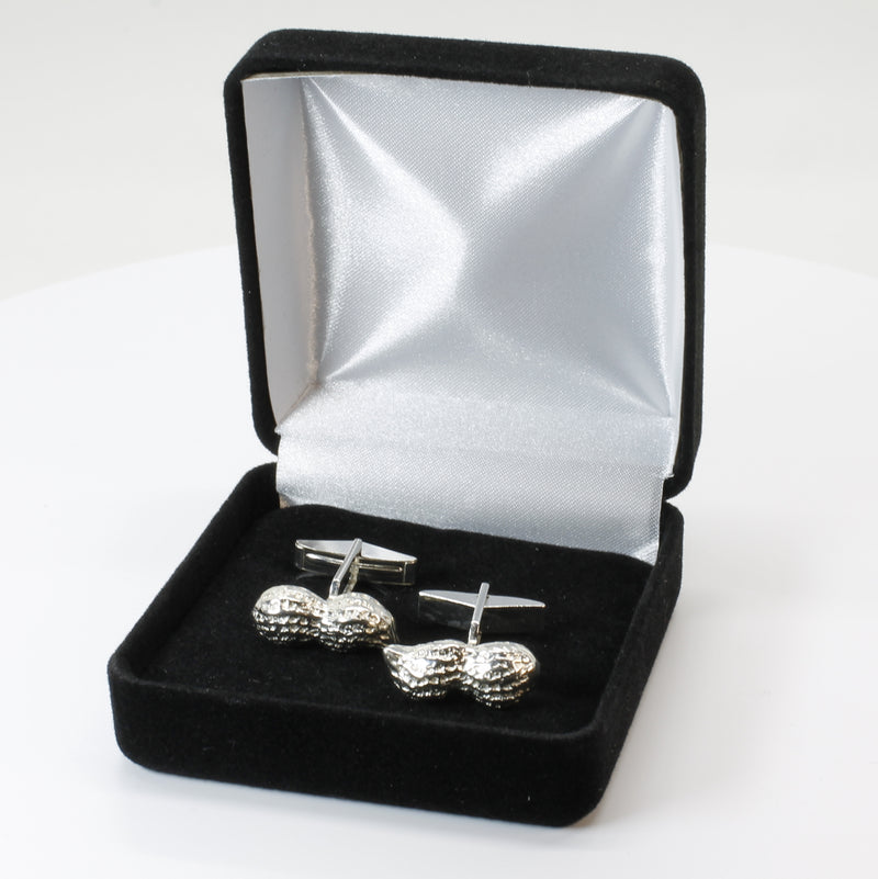 Peanut Cuff Links for him with 925 Sterling Silver Whole Shell Peanuts