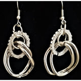 SILVER DOUBLE LINK RHINESTONE ACCENTED NECKLACE W/MATCHING DROP EARRINGS