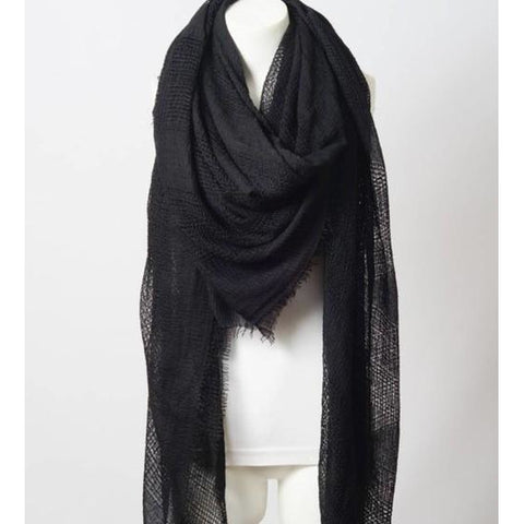 Perfect Square Black Blanket Scarf
