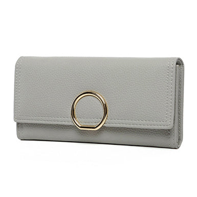 Gold Metal Circle Closure Clutch Bag (Wallet)