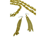 OPEN GOLD CHAIN NECKLACE WITH TASSEL ACCENTS & MATCHING DROP EARRINGS