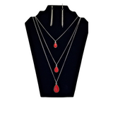 CHERRY RED TEARDROP NECKLACE W/MATCHING EARRINGS