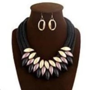 DEEP PURPLE  LAYERED NECKLACE SET W/MATCHING DROP EARRINGS
