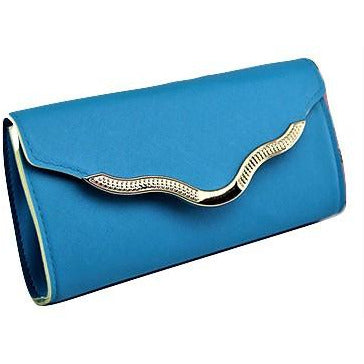 BABY BLUE  V SCALLOPED CLUTCH BAG