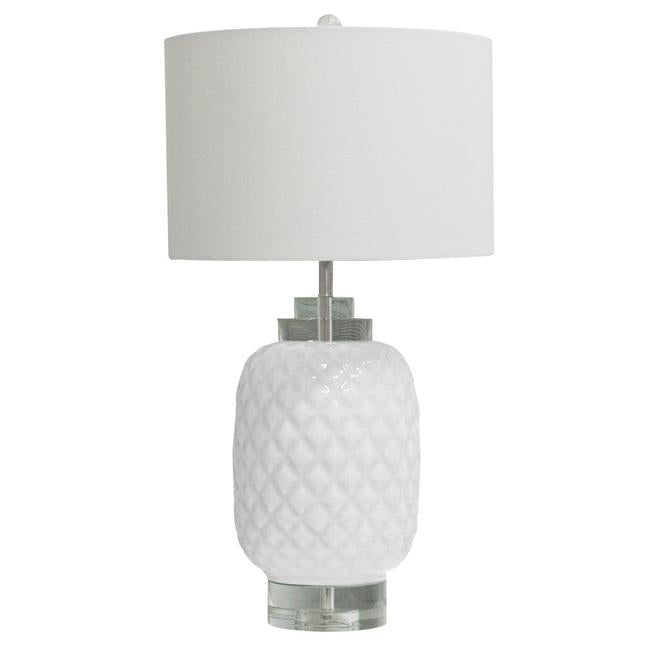 White island hand made glazed ceramic crystal table lamp with quality shade