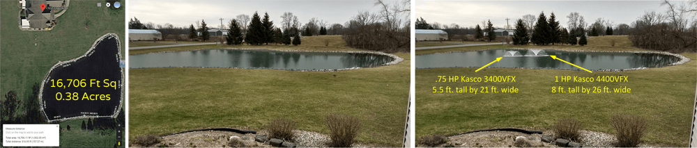 Before and after Pond Fountain Visualization