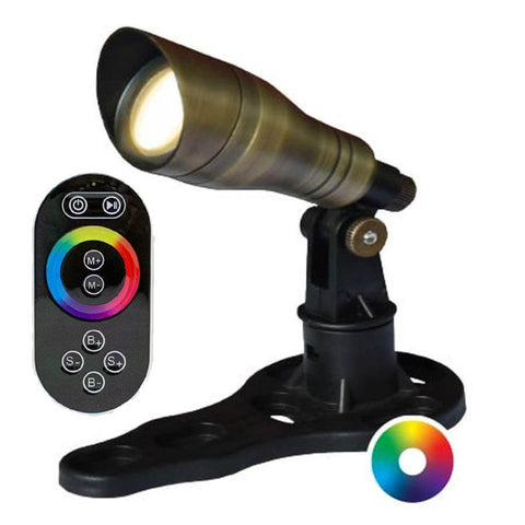 Anjon 3 Watt LED Color-Changing Spotlight with Controller Kit-Anjon-Brass-Kinetic Water Features