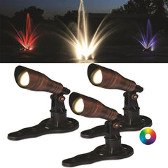 Anjon RGB Color-Changing LED Fountain Light Kit - (3) 3 Watt LED Color Changing Spotlights-Anjon-Kinetic Water Features