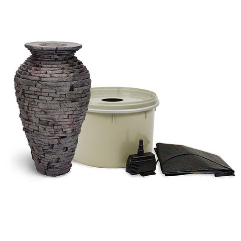 Aquascape Small Stacked Slate Urn Kit-fountain kit-Aquascape-Kinetic Water Features