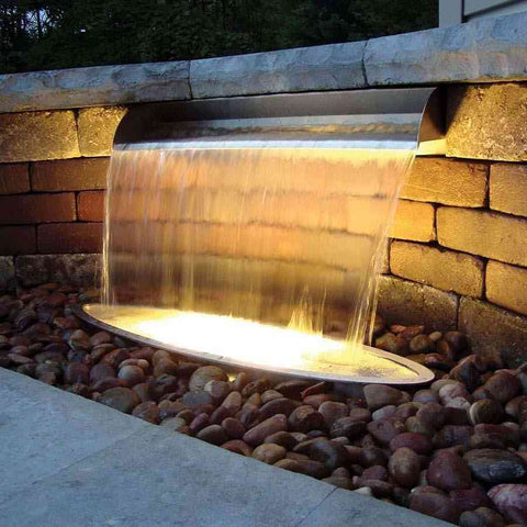 "Atlantic 304 Stainless Steel Scupper Spillway 12"" 24"" 36"" Sizes-Spillway-Atlantic Water Gardens-Kinetic Water Features"