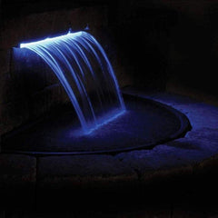 "Atlantic Colorfalls - Solid Color Sheer Lighted Backyard Waterfall Spillways-Waterfall-Atlantic Water Gardens-12"" Model CF12-Ice Blue-Kinetic Water Features"