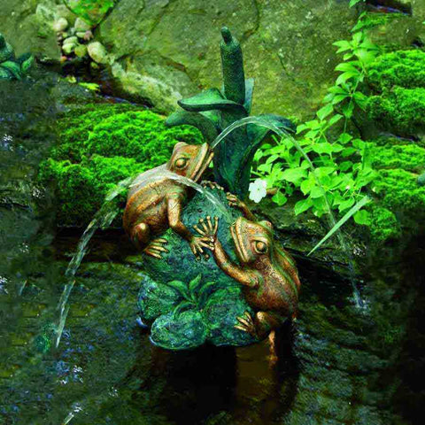 Double Frog with Cattail Spitter by Aquascape-Decorative-Aquascape-Kinetic Water Features