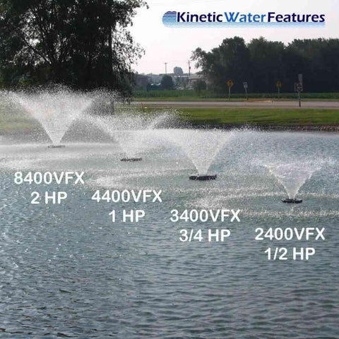 Kasco 3/4 HP 3400VFX Aerating Fountain in 120V and 240V-aerator-Kasco Marine-Kinetic Water Features