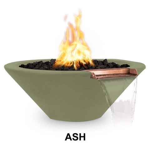 Top Fires Round Concrete Cazo Fire and Water Bowl by The Outdoor Plus-Top Fires-24 Inch-Ash-Match-Lit-Kinetic Water Features