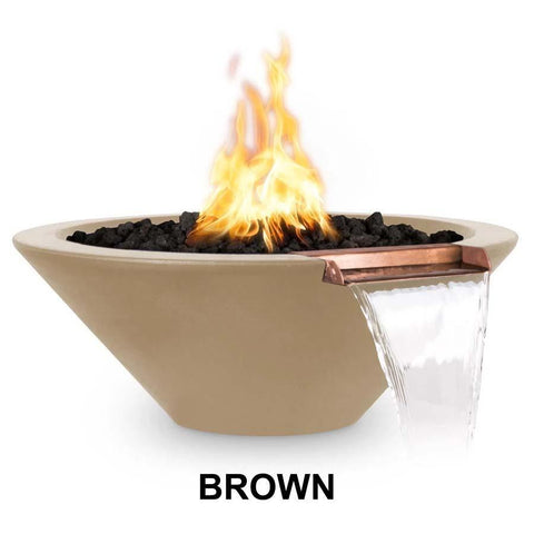 Top Fires Round Concrete Cazo Fire and Water Bowl by The Outdoor Plus-Top Fires-24 Inch-Brown-Match-Lit-Kinetic Water Features