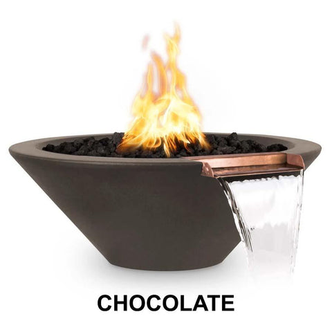 Top Fires Round Concrete Cazo Fire and Water Bowl by The Outdoor Plus-Top Fires-24 Inch-Chocolate-Match-Lit-Kinetic Water Features