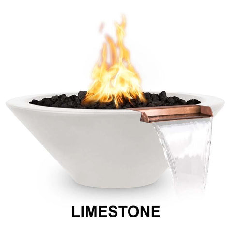 Top Fires Round Concrete Cazo Fire and Water Bowl by The Outdoor Plus-Top Fires-24 Inch-Limestone-Match-Lit-Kinetic Water Features