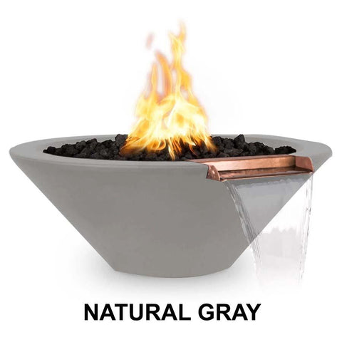 Top Fires Round Concrete Cazo Fire and Water Bowl by The Outdoor Plus-Top Fires-24 Inch-Natural Gray-Match-Lit-Kinetic Water Features