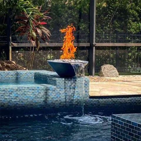 Top Fires Round Concrete Cazo Fire and Water Bowl by The Outdoor Plus-Top Fires-Kinetic Water Features