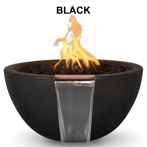 Top Fires Round Concrete Luna Fire and Water Bowl by The Outdoor Plus-Top Fires-30 Inch-Black-Match-Lit-Kinetic Water Features