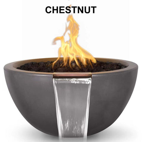 Top Fires Round Concrete Luna Fire and Water Bowl by The Outdoor Plus-Top Fires-30 Inch-Chestnut-Match-Lit-Kinetic Water Features