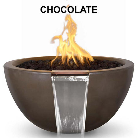 Top Fires Round Concrete Luna Fire and Water Bowl by The Outdoor Plus-Top Fires-30 Inch-Chocolate-Match-Lit-Kinetic Water Features